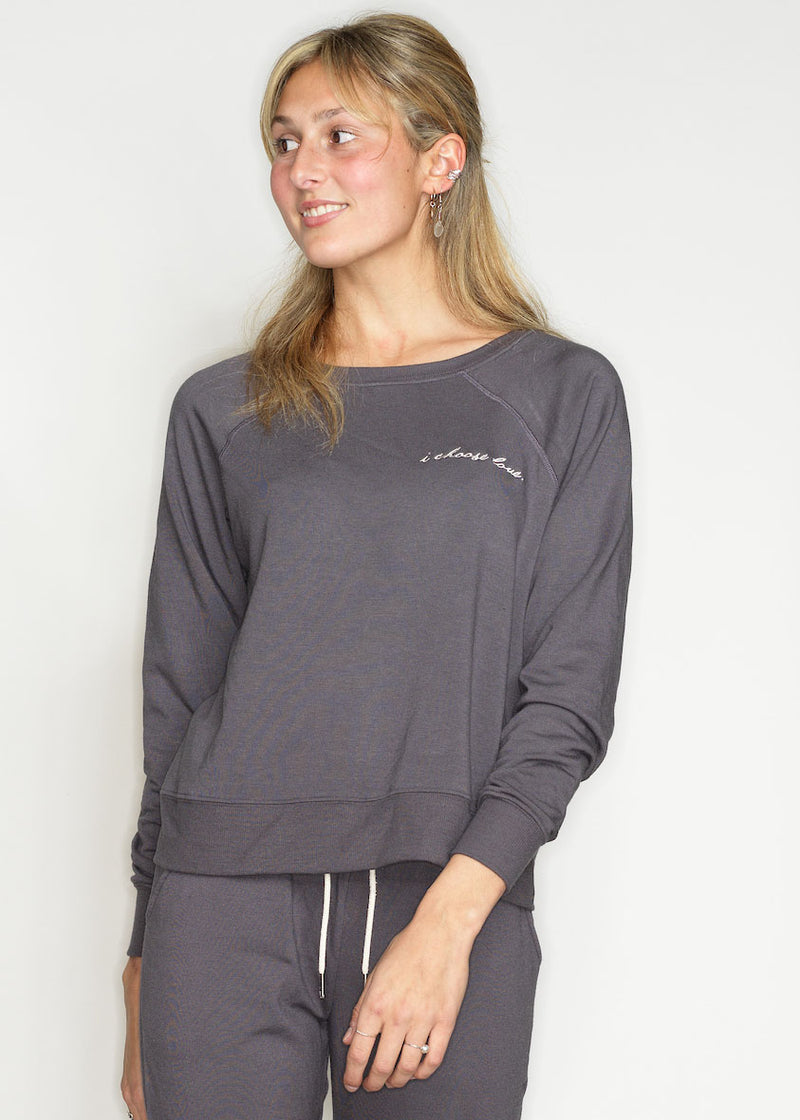 'I Choose Love' Ultra-Soft Modal Fleece  Sweatshirt (Jogger Set Top)- Rabbit