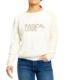 'Radical Love' fleece pullover - moon