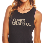 'SUPER GRATEFUL' Perfect Fit Tank - Vintage Black