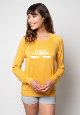 'PEACE WARRIOR'  ULTRA-SOFT RAGLAN - TURMERIC