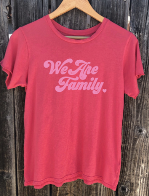 'WE ARE FAMILY' - CORAL - ULTRA SOFT RAGLAN - ALL PROFITS SUPPORTING UNTIL FREEDOM