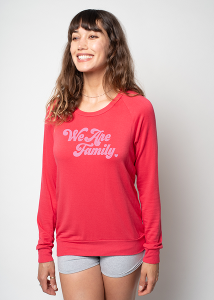 'WE ARE FAMILY' - CORAL - ULTRA SOFT RAGLAN - SUPPORTING UNTIL FREEDOM & BLACK LIVES MATTER