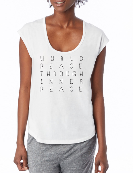 'WORLD PEACE THROUGH INNER PEACE' ORGANIC SCOOP TEE