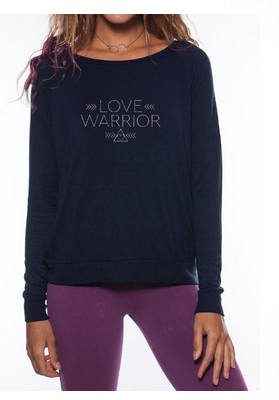 'Love Warrior' Ultra-Soft Raglan Pullover - Indigo
