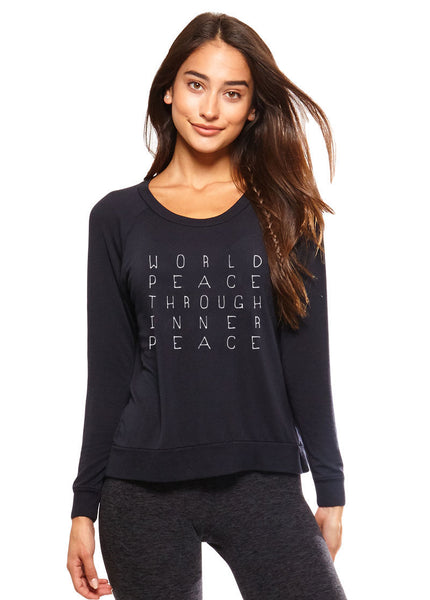 'WORLD PEACE THROUGH INNER PEACE'  ULTRA SOFT RAGLAN