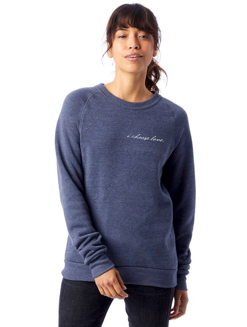 'I CHOOSE LOVE'  COZY FLEECE PULLOVER  (Sizes S - 3XL)- Eco Denim Blue