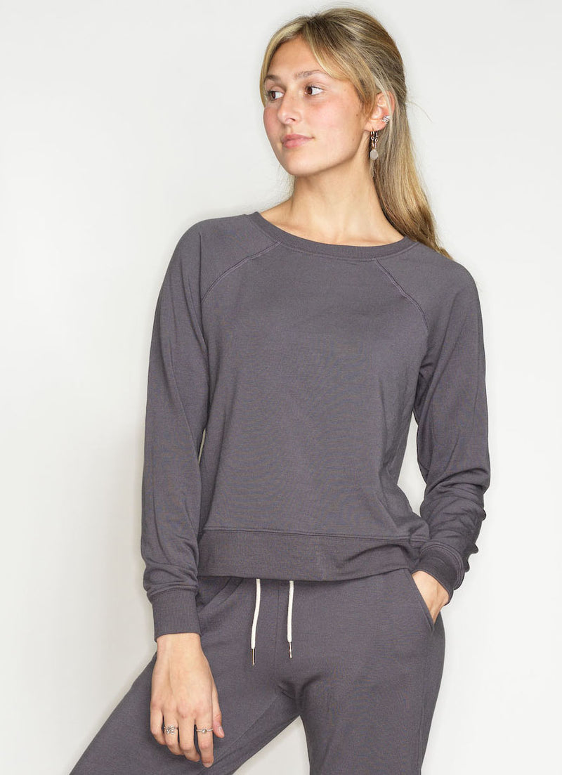 ULTRA SOFT MODAL FLEECE  SWEATSHIRT (JOGGER SET TOP)- RABBIT