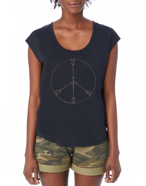 'PEACE ARROWS' ORGANIC SCOOP TEE