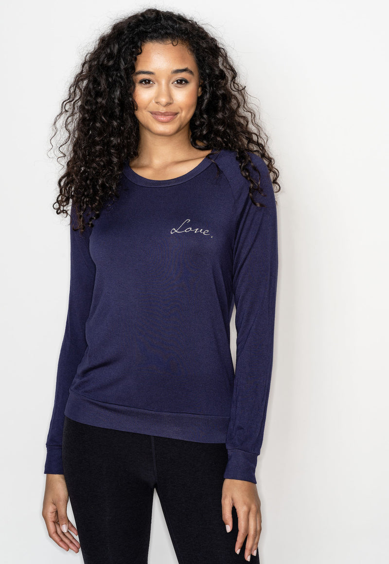'SMALL LOVE' ULTRA SOFT RAGLAN PULLOVER - INDIGO