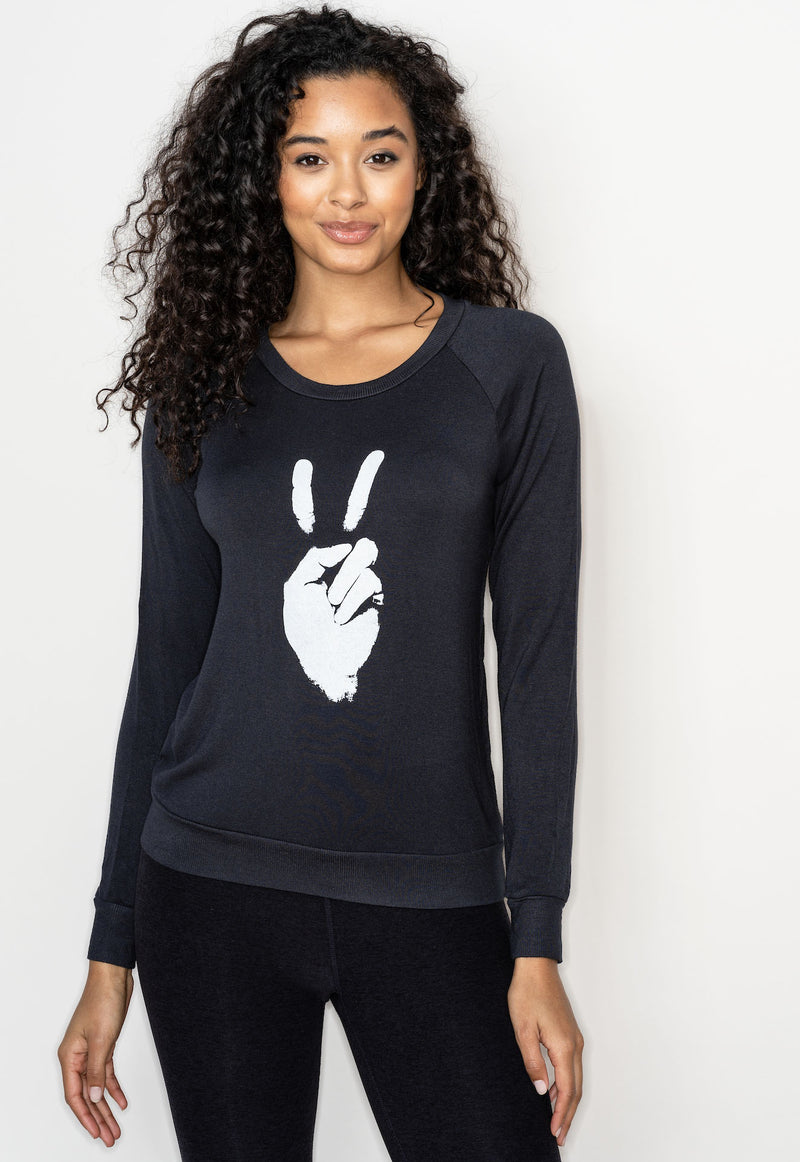 'Peace Sign' Ultra-Soft Raglan Sweater - Zen Black