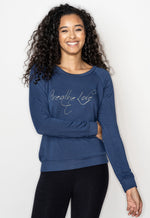 'BREATHE LOVE' ULTRA SOFT RAGLAN PULLOVER - WINTER BLUE