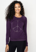 'PEACE ARROWS' ULTRA SOFT RAGLAN PULLOVER - Merlot