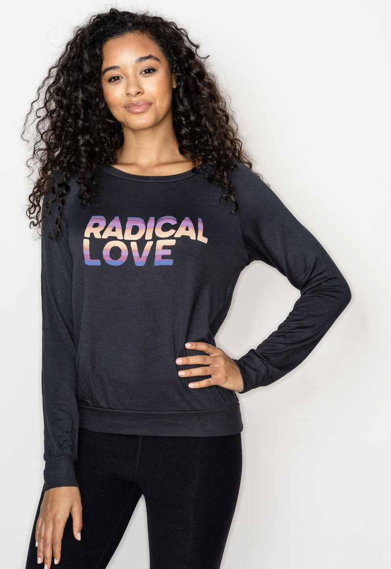 'Radical Love' Ultra-Soft Raglan Pullover - Vintage Black