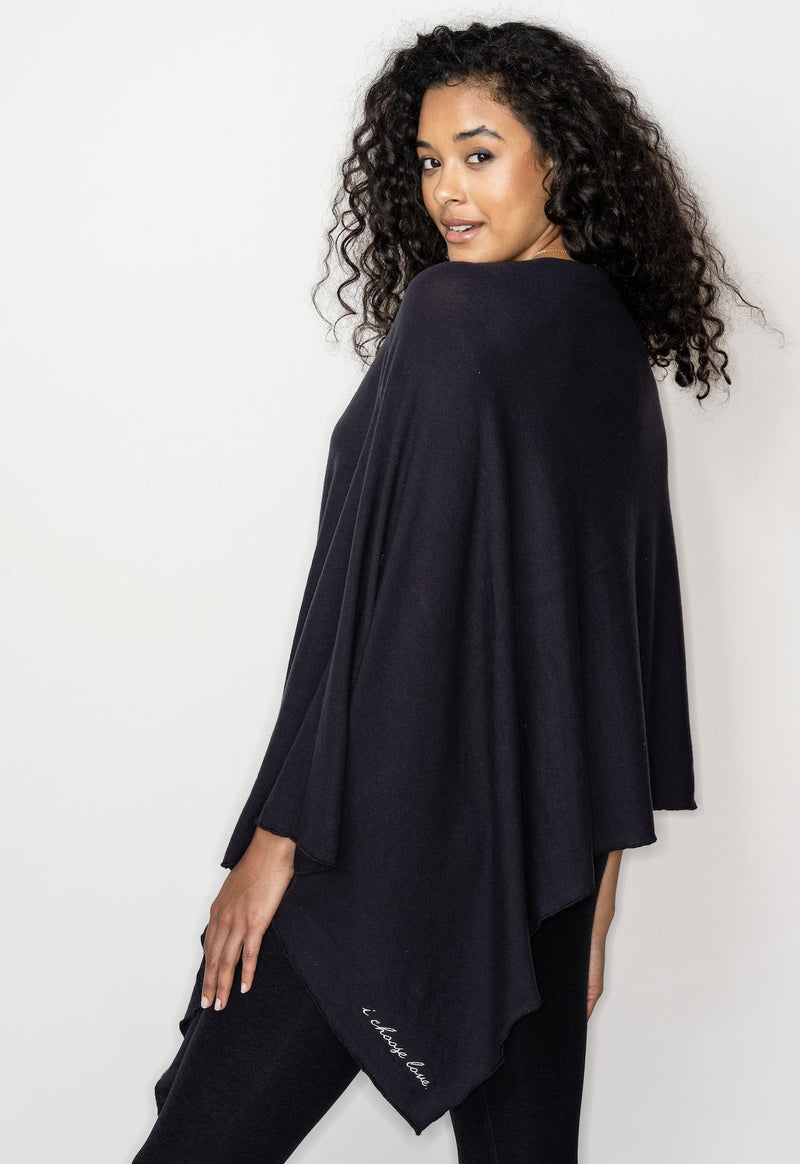 NEW BE LOVE PONCHO!! WITH EMBROIDERY - MAGIC BLACK