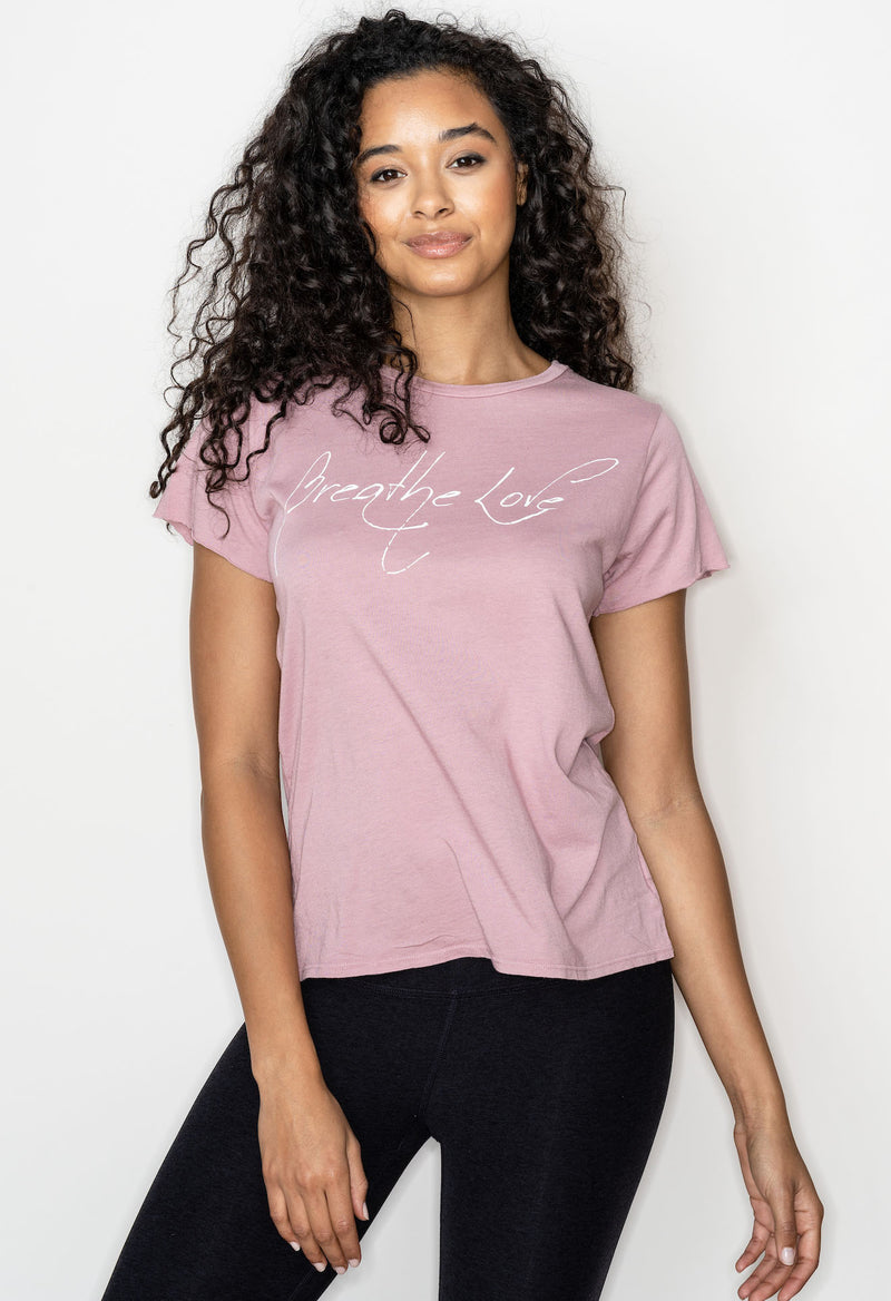 'BREATHE LOVE' PERFECT TEE - ROSE