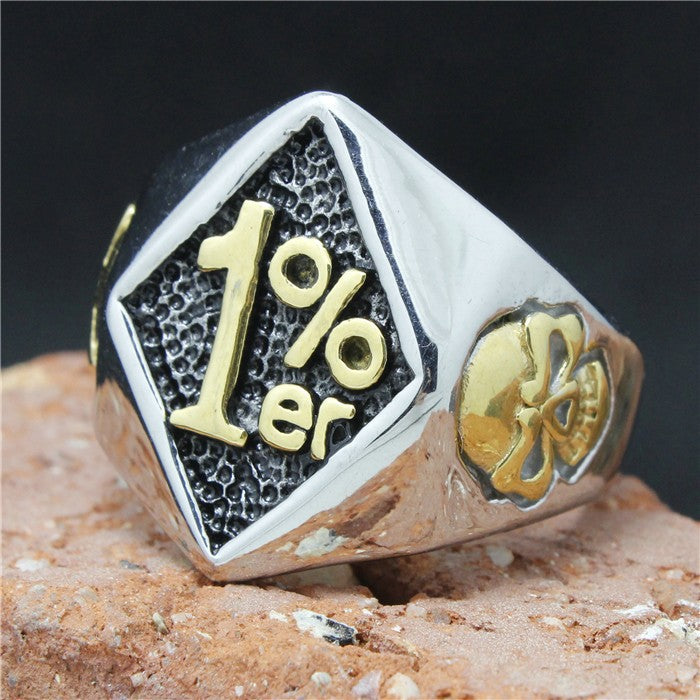 Stainless Steel 316L Men's 1% er Skull Motorcycle Biker Ring