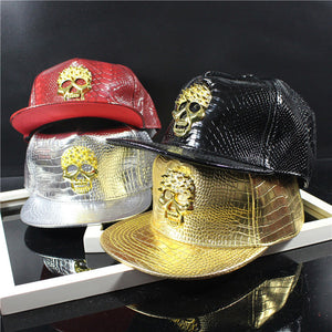 New Leather Summer Brand Metal Skull Europe Baseball Cap Hat Women/Men Casual