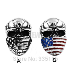 Stainless Steel American Flag Infidel Men's Skull Ring Jewelry Vintage Motor Biker