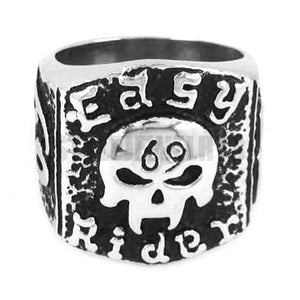 Stainless Steel Men's Easy Rider 69 ER Skull Motor Biker Ring Jewelry Fashion
