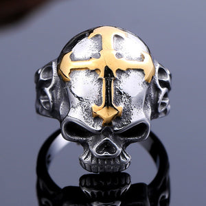 "Stainless Steel 316L Beier Quality Men""s Skull Gold Cross Ring Style jewelry"
