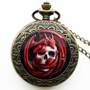 Pocket Skull Pendant Watch Death Design Watch Biker Skull Jewelry Quartz Watch