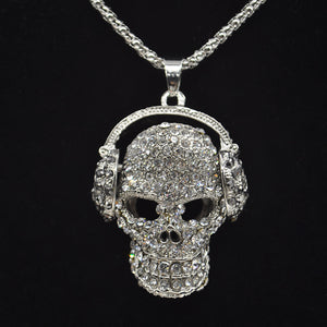 Mens/Women skull pendant necklace fashion full crystal headphones punk jewelry