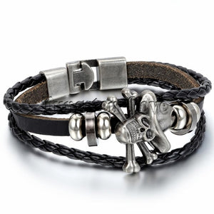 Leather Bracelet Piece Skull Bracelets Braided Man/Women Black/Brown