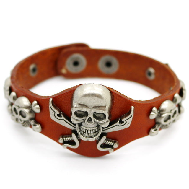 New Retro Women Skull Leather Bracelets Fashion Bracelets Silver Alloy Jewelry
