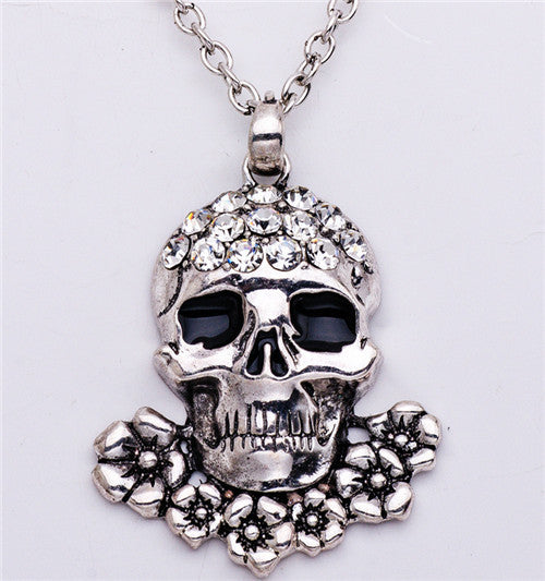 Fashion Gold Sets Women Silver Punk Rock Rhinestone Skull Necklace