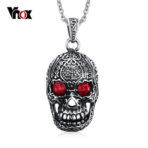 "Stainless Steel Vnox Men's Gothic Skull Pendant Necklace Red Cubic Zirconia 24"" Chain"