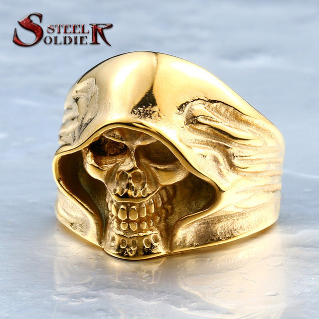 Stainless Steel Steel Soldier Death Men's Skull vintage ring style jewelry