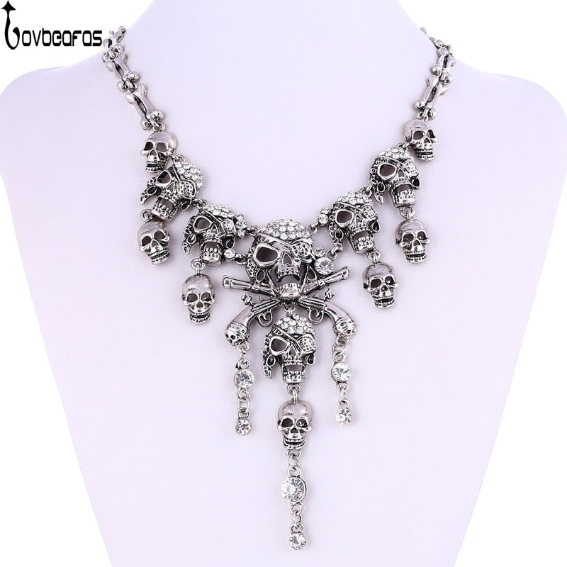 LOVBEAFAS Fashion Vintage Pirate Skull Necklaces/Pendants Retro Rhinestone