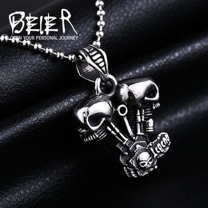 Stainless Steel Skull Style Pendant/Necklace Men's Biker Jewelry