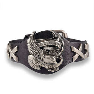 Ride to live bracelets Wolf Skull Retro Leather Bracelet Men/Woman
