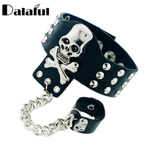 Gothic Skeleton Skull Chain Link Rock Rivet Cuff Black Leather Punk Bangle Bracelet