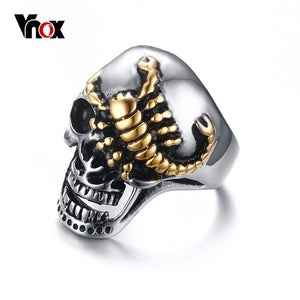 Vnox Men's Skull Bone Biker Rings Punk Scorpion Stainless Steel Male Retro Jewelry