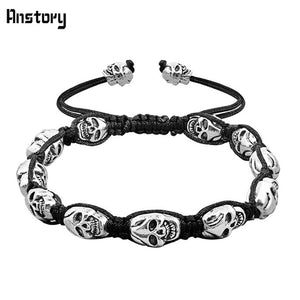 Skull Skeleton Bead Bracelets Strand Silver Plated Rope Woven Craft Fashion Jewelry