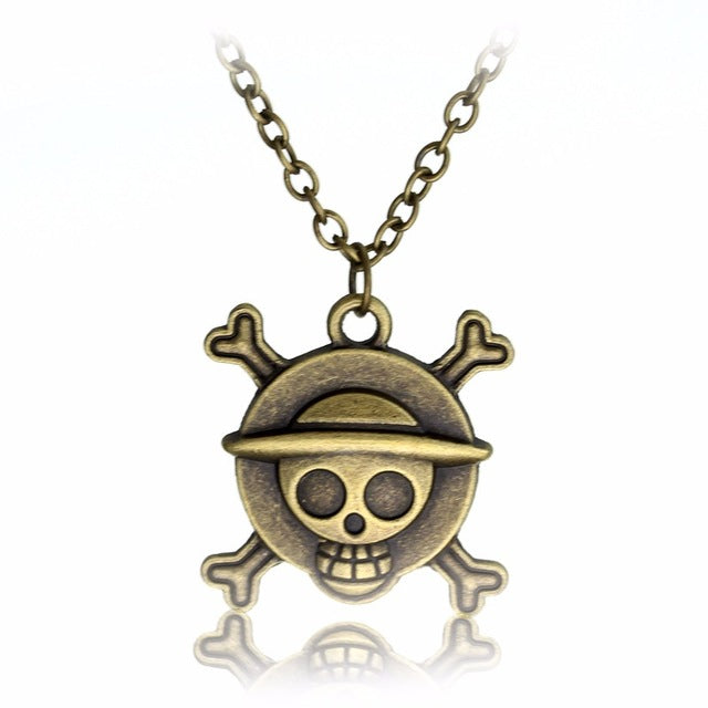 Vintage ONE PIECE MONKEY D LUFFY Skull Pendant Necklace Pirate Flag  Necklace