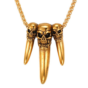 Stainless Steel Starlord Wolf Tooth Pendant Necklace Gold Color 3 Skull Men Jewelry