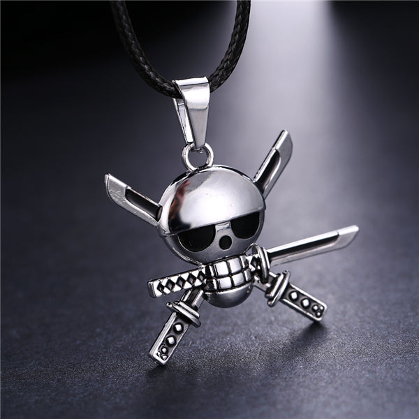 Roronoa Zoro Skull Men's necklace silver plating pendant necklace cosplay jewelry