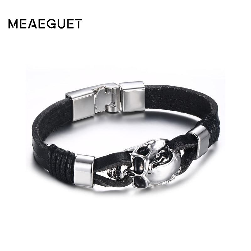 Meaeguet Mens Black Durable Leather Bracelet Gothic Skull Cuff Bangle Charm