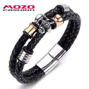 Stainless Steel MOZO FASHION Men Braided Leather Rope Chain Skull Jewelry