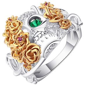 Vintage Silver Plated Green Eye CZ Women's skull Gothic band gold color flower ring