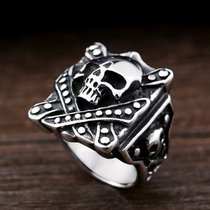 Steel Soldier Stainless Steel detail vintage Men's skull design ring jewelry