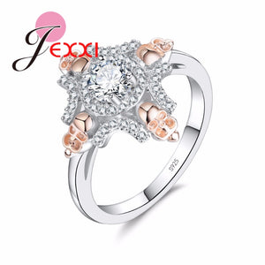 JEXXI New 925 Sterling Silver Skull Cubic Zironia Crystal Rings For Women Fashion Band Style