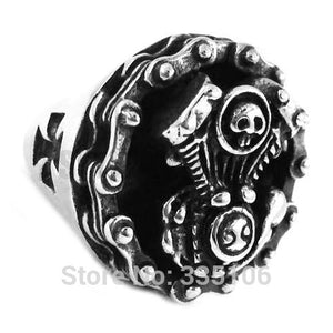 Stainless Steel Men's Chain Engine Motor Biker Skull Ring Iron Cross