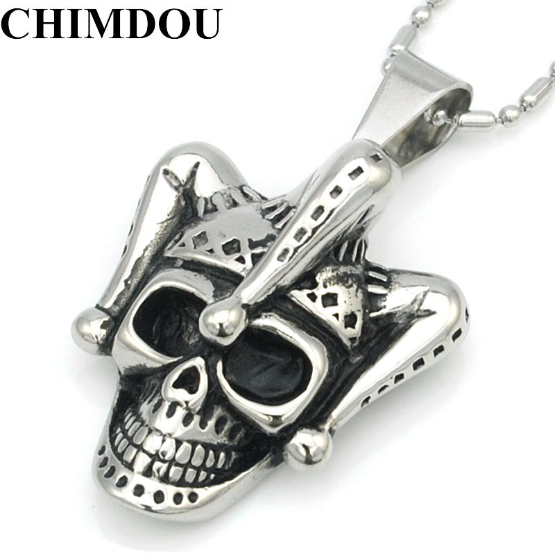 CHIMDOU Men Stainless Steel Pendant Chain Skull Clown