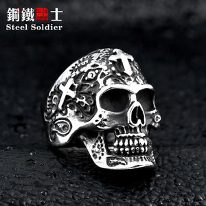 Steel soldier cross skull Stainless Steel men's ring retro jewelry new style skull