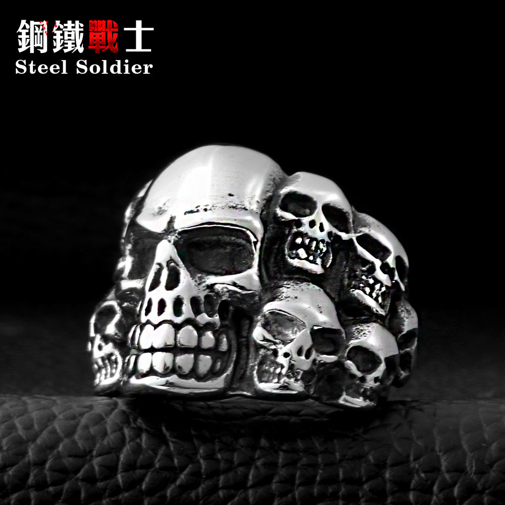Steel soldier Punk Biker Titanium Stainless Steel Ring Multi Rock Skull Ring For Men
