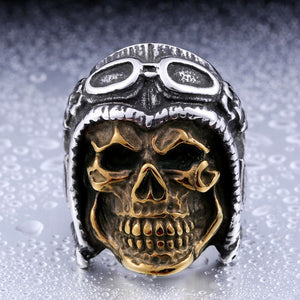 Stainless Steel 316L BEIER Jewelry Skull Astronaut Punk Man`s Ring